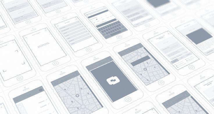 wireframe che descrivono il flusso di interazione di una app